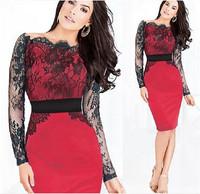 New Women Sexy Lace Crochet Dresses Long Sleeves Sheath mulheres cinto Vestidos Femininos Bodycon Party Pencil Dress ic852756
