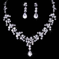 Big Promotion Rhinestone Women Party Prom Silver Plated Drop pendant necklace earring Bridal Wedding