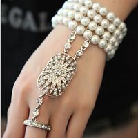 Hot Bridal Bracelet set The Great Gatsby Pearl bracelet Stretch Austrian Cuff Set for Women Wedding women jewelry XI09