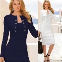 Hot temperament Slim fake two long-sleeved dress OL package hip pencil dresses fashion spring dress fishtail club lady coats