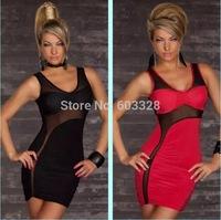 Hot Sexy 2014 Women Slim Mesh Transparent Patchwork Bandage Mini Dress Sleeveless Clubwear Night Club Dance Dresses YT1156