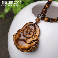 Trendy Design High Quality Tiger Eye Stone Woven Necklace with Buddha Pendant
