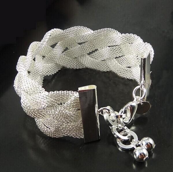Women Sterling Silver Jewelry Braid 925 Sterling Silver Bracelets Bangles Fashion Wedding Jewelry Bracelets For Women(China (Mainland))