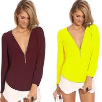 Free shipping New 2014 Women Chiffon Blouse Fashion Long Sleeved Tops Deep V-neck Chiffon Shirt Blusas Femininas 6 colors WG#