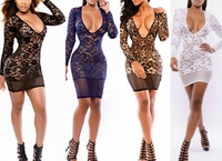 1pcs/lot Women's 3/4sleeve O-Neck Sexy Lingere Nylon Lace adult sexy Lingerie Sexy Club wear intimates teddies Lingere 3color