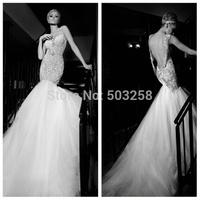 DWD22 Galia Lahav Appliqued Tulle 2015 Sexy Mermaid Wedding Bridal Gown