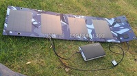 7W/5V monocrystalline silicon solar folding bag / USB output 5V regulator / simultaneously to two mobile phone charging