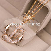 hot -hot - sale Fashion jewelry classical crystal anchor pendant necklace free shpping 2014
