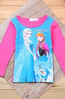 Baby Girls Frozen T Shirt Plus Size Children Frozen Top Tees Shirt Kids Long Sleeve One Piece Frozen T Shirt Autumn Wear