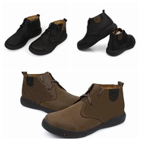 Fashion Men's Winter Leather Plus Velvet  Warm Boots High To Help Men Cotton Shoes Round Top Shoe brown/ black