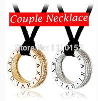 hot -Necklaces & Pendants (2pcs/Lot) Round Pendant Rope Necklace Couple Pendants Circle Pendant Circle Necklace Men Jewelry Love