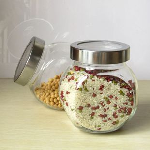 Transparent glass bottle sealed glass jar of honey bottles canisters Canister large grains dried fruit cans shipping(China (Mainland))