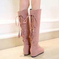 Lacing high-leg 2014 sexy elevator boots nubuck leather boots leg boots snow boots