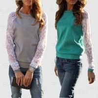 Hot Sale New 2015 autumn winter patchwork long sleeve cotton lace hoodies sweatshirts women t-shirt top grey green blue red