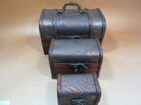 collect a set Vintage handmade  Old antique 3pcs top-grade Genuine leather Wooden Jewelry Ornaments boxes
