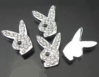 Wholesale 100pcs/lot 10mm full rhinestones rabbit slide charm fit for 10mm alphabet accessories