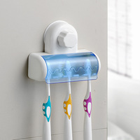 Creative Bath powerful suction toothbrush holder toothbrush five washable wall bathroom shelf