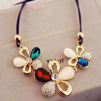 Fashion Charm Jewelry Pendant Chain Flowers Crystal Choker Chunky Bib Necklace