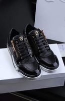 High Quality 2015 New Spring Brand Designer Fashion Genuine Leather Sneakers Men's Shoes,Lizardstripe Metal Head Casual Shoes