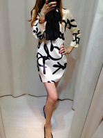 new winter dress free 2014/vesna/leto letter novelty print dress women's high street casual dress with scarf plus size