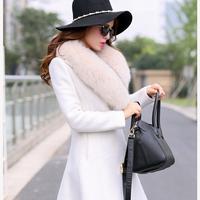 2014 cashmere woolen outerwear female medium-long plus size slim woolen large fur collar overcoat