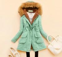 2014 New Arrival,Occident Women's Slim Fleece Inner Cotton Jacket,Thick Warm Cotton Coat,2 Colors,Plus Size S-3XL,10 Colors