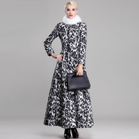 women british vintage style leopard print thicking plus size xl xxl xxxl women maxi long dress winter trench outerwear overcoat