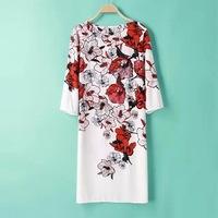 2015 new European style Fashion sweet floral print Dress Vintage O neck three quarter sleeve casual slim dress,WD0558