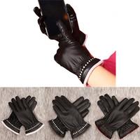 Newest Winter Gloves Fashion Girls Women Driving Winter Soft Leather Mitten Gloves Women Warm