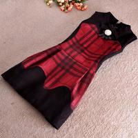 Free shipping Wholesale England autumn and winter new women European style retro plaid dress OL Slim suede vest dress
