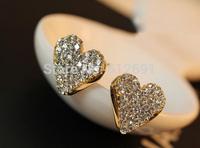 2015 Heart Stud Earrings Wholesale Fashion 18K earring Love Female Earrings FREE SHIPPING