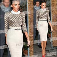 Hot Selling 2014 New European Fashion Women Elegant Plaid Patchwork OL Business Work Celebrity Bodycon Party Evening Dresses