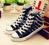Fashion Unisex Canvas Shoes Punk Rivet Sneakers Black White Red high top Spiked canvas shoes Men Women Flat shoes