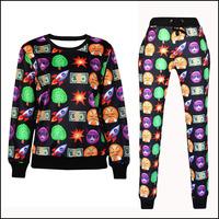 2 Piece Set Women Sport Suit Emoji Casual 3D Print Sweatshirt Hoodies Sudaderas Chandal Mujer Harajuku Pullover And Pants