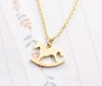 30 Piece-N142 Gold Silver Wooden Horse Necklace for women,cute animal necklace -Free shipping
