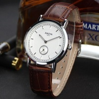 Promotions New Men's Leather Watches Analog Men Dress Steel Case Quartz Watch with Fashion Casual Wristwatch Free Shipping 1876