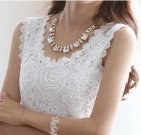 Blusas Femininas 2014 Summer Women Blouse Lace Vintage Sleeveless White Renda Crochet Casual Shirts Tops Plus Size XXXL