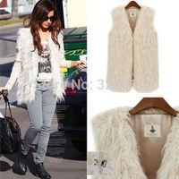 2015 Women Faux Fur Shaggy Vest Sleeveless Coat Outerwear Long Hair Jacket Waistcoat