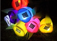 (8pcs/lot) Hot Sale Outdoor Solar Garden Light Solar Powered LED Tulip Home Landscape Flower Lamp 4Colors Free Shipping
