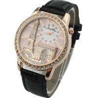 New Fashion Ladies Watches Students Dress Fashion Quartz Wristwatch England Eiffel Tower PU Strap Casual Watch