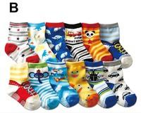 Free Shipping 5 pairs/lot Cotton Baby Socks Rubber Slip-resistant Floor Socks Cartoon Small Kid's Cotton Socks