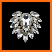Free Shipping ! 100pcs/lot 42*38mm acrylic teardrop rhinestone brooch buckle for garment accessory in gold