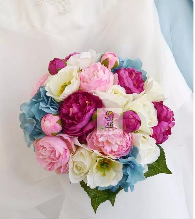 Свадьба букет порошок синий роза и