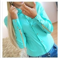 2014 new fashion blouses Rivet clasp zippers at sleeves blended women shirts