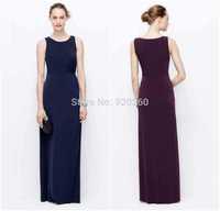 2014 New Elegant Scoop Neck Chiffon Navy Blue Bridesmaid Dresses For Girls Wedding party dresses Hot Sale Vestido de festa