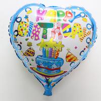 New 10pcs/lot 18inch heart happy birthday balloons birthday party supplies cake shaped ballons mylar helium ballons
