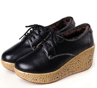 Fashion slope with waterproof heavy-bottomed female cotton-padded shoes increased warmth flats for women size35-40 S1176