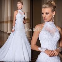 Free Shipping vestido de noiva 2016 A-Line High Neck Lace Wedding Dress vestido de casamento Bridal Gown Beaded Wedding Dress
