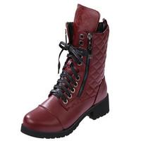 New 2015 Autumn Winter Ankle shoes for women Platform Med-heels Lace up zipper Velvet Fashion HSD41
