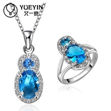 10sets/lotFVRS033 2015 new fine jewelry sets Extravagant Party jewlery set for lady Fashion Big Crystal set Necklace and  Ring